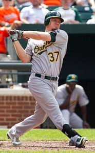 Brandon Moss hits against the Baltimore Orioles on July 29, 2012